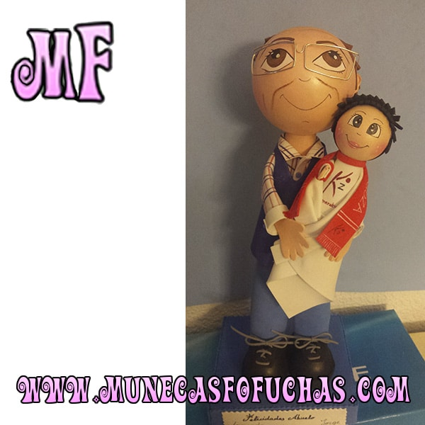 Muñeca Fofucha personalizada abuelo y niño