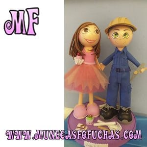 Muñeca Fofucha personalizada pareja minero