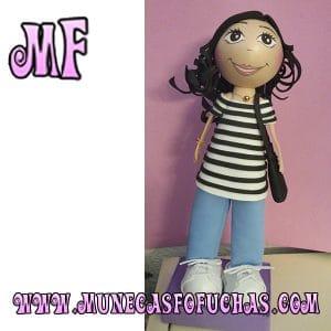 Muñeca Fofucha personalizada rayas con bolso