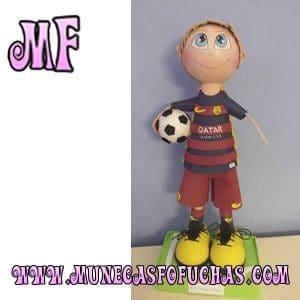 Muñeca Fofucha personalizada futbol barcelona balon